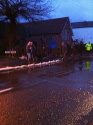 Sandbags out stopping water flooding church
